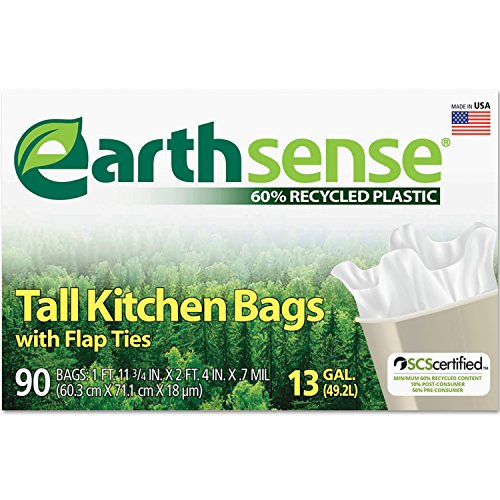 Earthsense Recycled Can Liners, 13 Gallons, White, 90 Bags/Box (GES6K90) (Recycled Cans compare prices)
