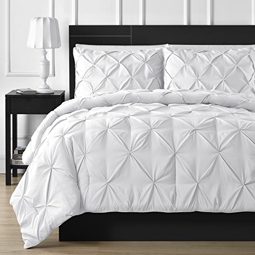 Double-Needle Durable Stitching Comfy Bedding 3-piece Pinch Pleat Comforter Set (Full, White) (Full Bedding Set White compare prices)