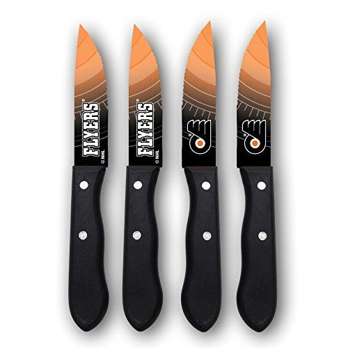 NHL Philadelphia Flyers Steak Knives (Set of 4), Black, 9.75