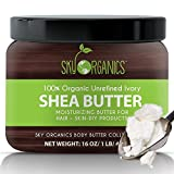 Organic Shea Butter By Sky Organics: Unrefined, Pure, Raw Ivory Shea Butter 16oz – Skin Nourishing, Moisturizing & Healing, For Dry Skin, Dusting Powders -For Skin Care, Hair Care & DIY Recipes