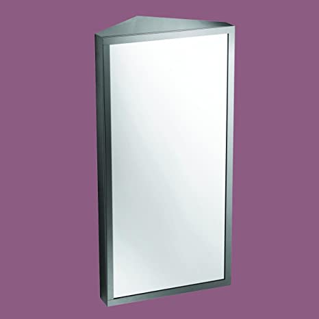 Corner Medicine Cabinet Polished Stainless Steel Mirror Door |Renovator's Supply