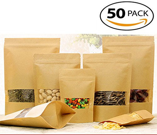 Metoke 50pcs Window Kraft Paper Bags Standing Window For Tea Food Nuts Sealed Bags (Square Window Visible, 12*20) (Tea Packaging Bags compare prices)