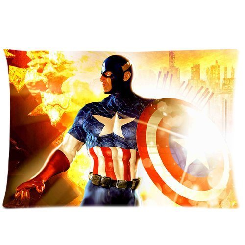 Generic Custom Superhero Captain America Printed Zippered Pillowcase Cushion Cover 20*30(Twin Sides) front-1002483