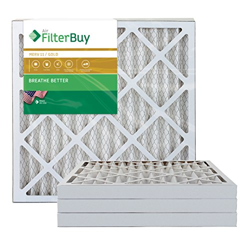 AFB Gold MERV 11 24x25x2 Pleated AC Furnace Air Filter. Pack of 4 Filters. 100% produced in the USA.