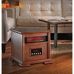 Dynamic Infrared Quartz Heater 4 Heater Elements 1000 Square Feet Dark Oak