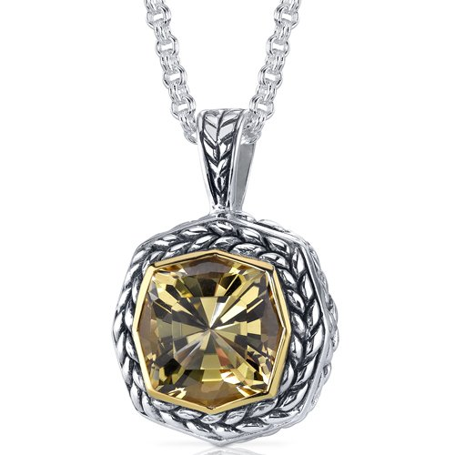 Octagon Cut 6.00 carat Champagne Citrine Sterling Silver Antique Style Pendant Free Shipping