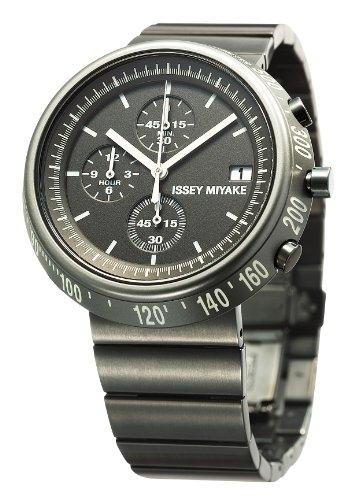 Issey Miyake Trapazoid Unisex Quartz Watch with Grey Dial Chronograph Display and Grey Stainless Steel Strap SILAZ003
