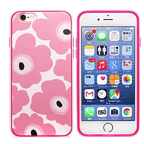 iPhone6対応 マリメッコデザインTPUソフトケース/フチとボタンがかわいいケース (ピンク)