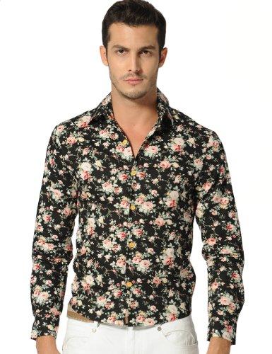Sslr Men'S Floral Long Sleeve Shirt (Large, Black Pink)