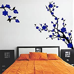 DeStudio Floral Branch Chalkboard Wall Decal, Size MEDIUM & Color : BLUE