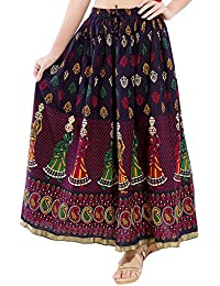 Rangsthali Cotton Printed Straight Long Skirt For Women (size: Length- 38 Inches) Waist- Non Stretch- 26 X After... - B01JZIZ03Y
