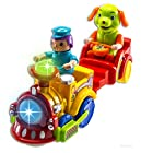 WolVol Electric 2 Piece Train Toy Set, Music and Lights & Train Sounds, Interesting Movements, Conductor Drums & Shakes