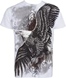 TG455T Flying Eagle Metallic Silver Embossed Short Sleeve Crew Neck Cotton Mens Fashion T-Shirt - White / Large