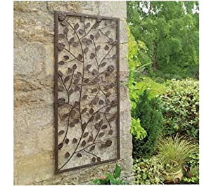Garden Climbing Rose Wall Art Panel. Ornamental Bronze Painted Steel. Decorative from Gardman