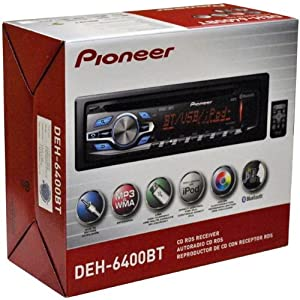 6. Pioneer DEH-6400BT CD receiver with AM/FM tuner, built-in Bluetooth, USB, AUX & Remote Control. Precio: $119.49