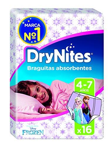 Huggies DryNites, 16 Mutandine assorbenti per la notte bambina 4-7 anni (17-30 kg)