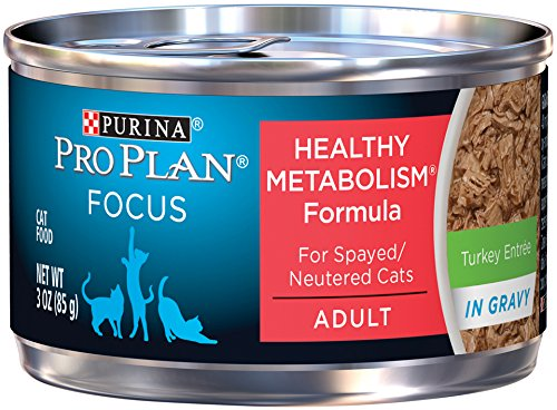 Purina Pro Plan Wet Cat Food, Focus, Healthy Metabolism Formula Turkey Entrée, 3-Ounce Can, Pack of  24