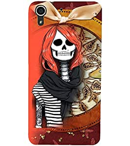 PrintDhaba Funny Skeleton D-4105 Back Case Cover for HTC DESIRE 728 (Multi-Coloured)