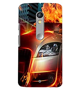 PrintDhaba CONCEPT CAR D-6574 Back Case Cover for MOTOROLA MOTO X PLAY (Multi-Coloured)
