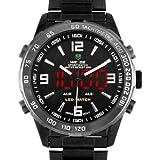 Alienwork DualTime Analogique-Digital Montre multifonction LED numérique Acier inoxydable noir noir OS.WH-1009-B-3