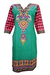 Indiatrendzs Women Tunic Cotton Green Printed Summer Long Kurti M