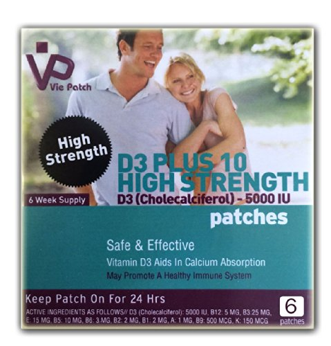 Vie Patch - VITAMIN D3 PLUS 10 HIGH STRENGTH - 5000 IU- 6 Patches. Aids In Calcium Absorption. 100% Natural. 6 Weeks Supply