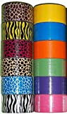 """12 Roll Variety Pack of Bazic Print Colors (brights colors) of All Purpose Duct Tape. Brights Include: green, blue, orange, purple,pink and yellow. The prints include: various animal prints. All solid color rolls are 1.89""""x 10 yards. All print rolls are 1.89""""x 5 yards."""