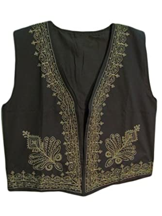 Indian Men's Black & Gold Embroidered Outerwear Vest (Small/Medium)
