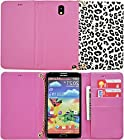 myLife Tulip Pink {Retro Leapord Design} Faux Leather (Card, Cash and ID Holder + Magnetic Closing) Slim Wallet for Galaxy Note 3 Smartphone by Samsung (External Textured Synthetic Leather with Magnetic Clip + Internal Secure Snap In Closure Hard Rubberized Bumper Holder)