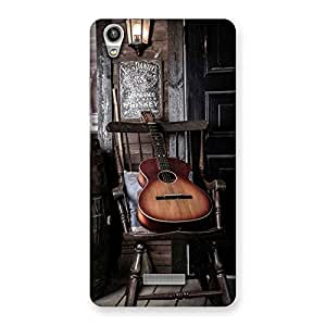 Gorgeous Old Guitar On Chair Back Case Cover for Lava-Pixel-V1