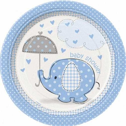 "Blue Elephant Baby Shower 7"" Cake/Dessert Plates back-12011"