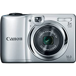 Canon PowerShot A1300 16.0 MP Digital Camera with 5x Digital Image Stabilized Zoom 28mm Wide-Angle Lens and 720p HD Video Recording (Silver) (OLD MODEL)