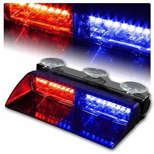 16 LED Emergency Strobe Lights Bar with 18 Flashing Mode for Interior Roof / Dash / Windshield Hazard Warning - Red/Blue (Led Dash Lights Red Blue compare prices)