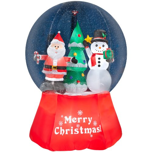 Gemmy Inflatable Airblown Snow Globe With Santa And Snowman Outdoor Christmas Decoration With Incandescent White Lights front-898327