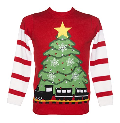 Unisex Retro Red Led Lightup Christmas Tree And Train Jumper From Cheesy Christmas Jumpers