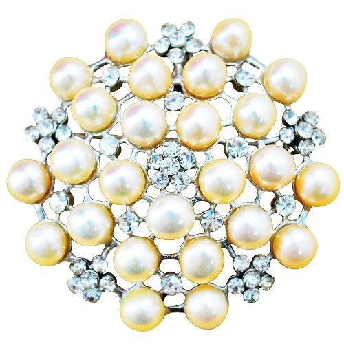 Pearl Brooch ,Golden Brooch, Wedding Brooch, Bridal Broach,Mother in Law Gifts(BR0004)