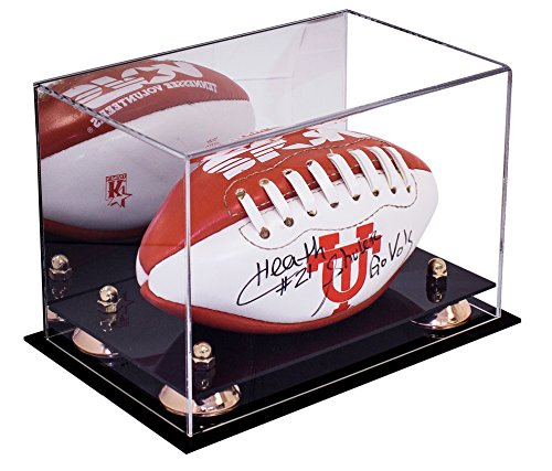 Deluxe Acrylic NCAA / NFL Mini Football Display Case with UV Protection with Mirror (A005) (Gold Ball Display compare prices)
