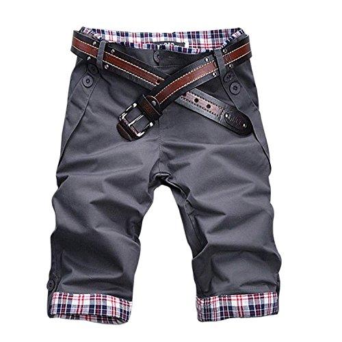 Minetom Pantaloncini corti Cargo short con Tasche Plaid Pieghe (Grigio EU M)