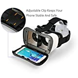 ARCHEER VR Headset Virtual Reality 3D Glasses with Remote Control, Build-in Clip to Keep Your Phone Safe for 3D Movies/Games Compatible with iPhone Samsung Moto LG Nexus HTC 4.0-6.5 Inch Smartphones