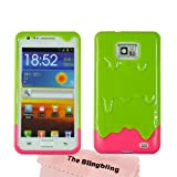 The BlingBling Schutzhülle Samsung Galaxy S2 i9100 Eis Ice Cream Hülle (harte Rückseite) Tasche Case Etui (Grün + Hot Rosa)