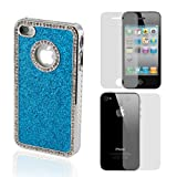 Blue Luxury Bling Glitter Chrome Crystal Rhinestone Hard Case for iPhone 4 4G 4S with Front & Back Screen Protector
