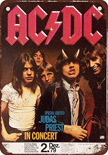 1979AC/DC e Judas Priest in Germania stile vintage Riproduzione in metallo Segni 30,5x 40,6cm
