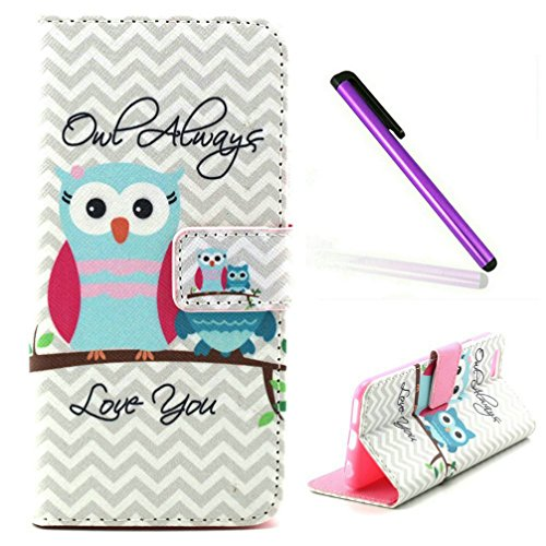5S Case,iPhone 5 Case,EMAXELER Creative Painted PU Leather Case Cover for iPhone SE Flip Wallet Case Holder Protective Case with Card Slots and Stand for iPhone 5/5S--Two Owls (Iphone 5s Case Protective Owl compare prices)
