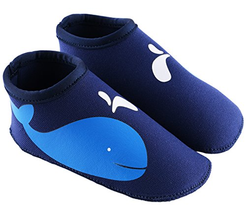 SUIEK Unisex Baby Infant Swim Shoes Water Shoes Beach Shoes (M (Sole length 5.3 inches, 12-24 Months), Dark Blue)