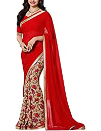 SareeShop Women's Georgette Beautiful Lace Work Partywear Saree Sari (Free Size)