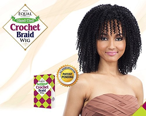 Freetress Equal Hand-Tied Crochet Braid Synthetic Wig STRAW ROD TWIST OUT (1B) (Hand Tied Braids compare prices)