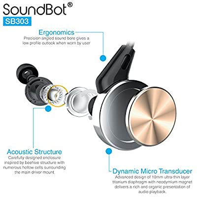 SoundBot® SB303 Memory Wire Frame Headset Ergonomic Secure-Fit Earbud Sports Active Earphone w/ Dynamic 10mm Titanium Transducer Driver, Acoustic Structure, In-line Control Mic In-Ear Noise Isolation