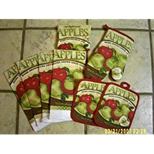 APPLE KITCHEN 8 PIECE TOWEL,OVEN MITT AND POT HOLDERS