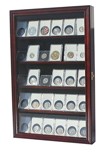 Collector NGC PCGS ICG Coin Slab Display Case Cabinet Holder Rack(Mahogany) (4 Coin Display Box compare prices)