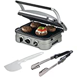 Total Griddler Essential Bundle includes: Cuisinart GR-4N 5-in-1 Griddler, Cuisinart 15-Inch Folding Grill Tongs (CIT-201), and Cuisinart Hard Plastic Spatula (DLC-650)